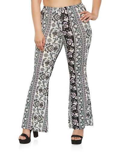 Plus Size Printed Flared Pants,PURPLE,large