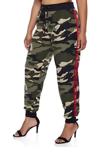 Plus Size Camo Varsity Stripe Joggers,OLIVE,large