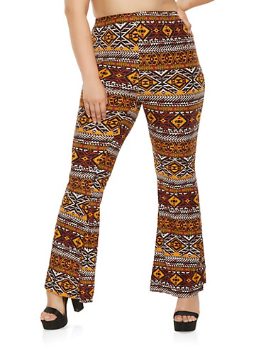 Plus Size Aztec Print Flared Pants,RUST,large