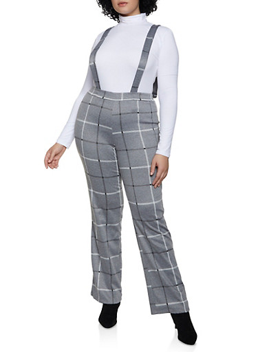 Plus Size Windowpane Suspender Pants,CHARCOAL,large