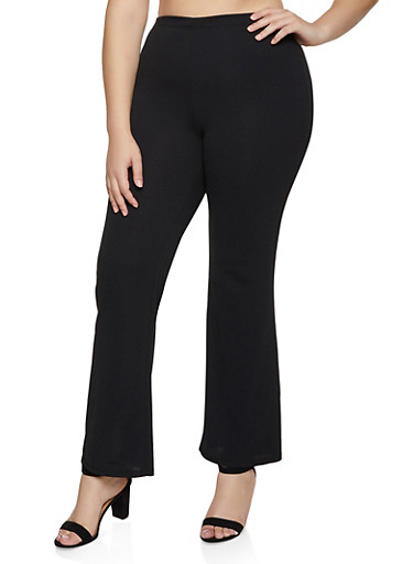 Plus Size Crepe Flared Dress Pants,BLACK,large