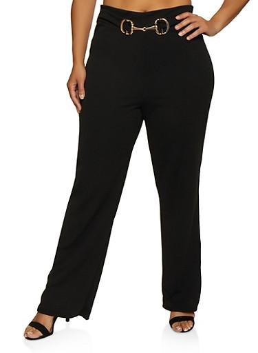Plus Size Metallic Waist Detail Dress Pants,BLACK,large