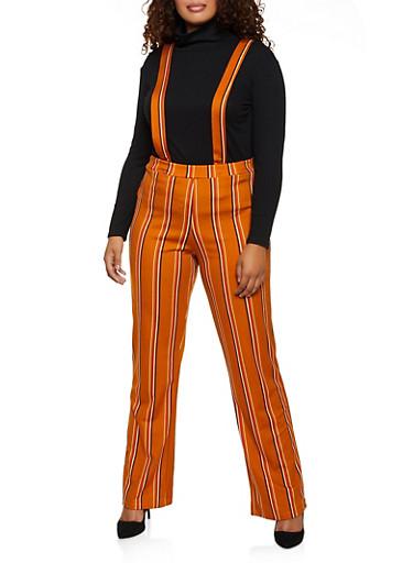 Plus Size Striped Suspender Pants,MUSTARD,large
