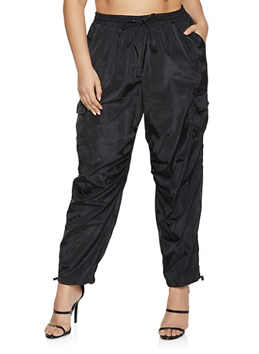Plus Size Nylon Cargo Joggers,BLACK,large