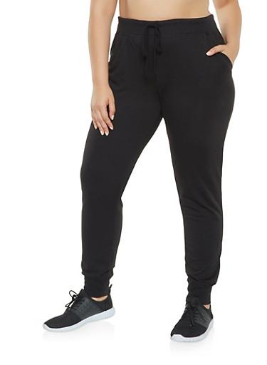 Plus Size Solid Sweatpants,BLACK,large