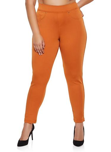 Plus Size Tummy Control Scuba Pants,CAMEL,large