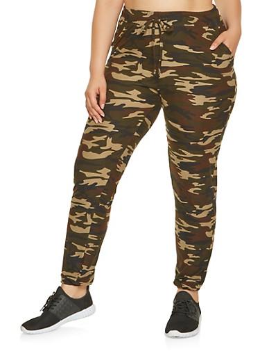 Plus Size Soft Knit Camo Sweatpants,OLIVE,large