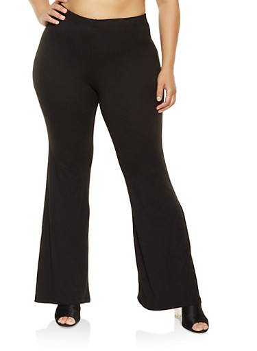 Plus Size Soft Knit Flared Pants,BLACK,large