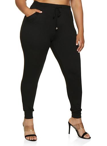Plus Size Soft Knit Solid Joggers,BLACK,large