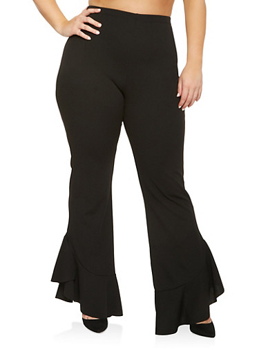 Plus Size Ruffle Hem Pants,BLACK,large