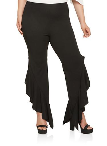 Plus Size Ruffled Detail Pants,BLACK,large