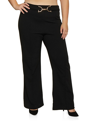 Plus Size Metallic Detail Pintuck Dress Pants,BLACK,large