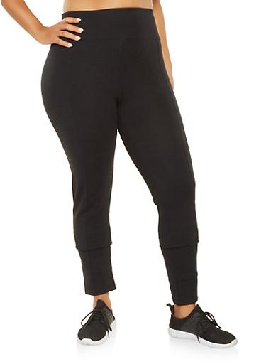 Plus Size Tummy Control Ponte Pants,BLACK,large