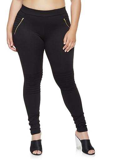 Plus Size Zip Moto Ponte Pants,BLACK,large