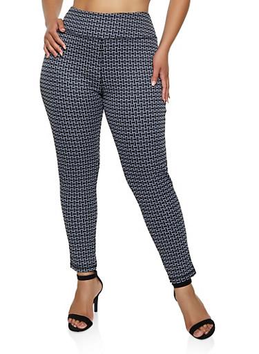 Plus Size Geometric Knit Dress Pants,BLACK/WHITE,large