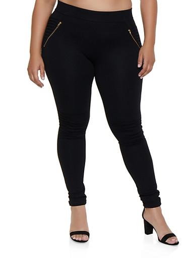 Plus Size Zip Moto Pants,BLACK,large