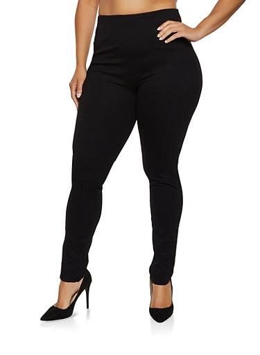 Plus Size Pull On Ponte Pants,BLACK,large