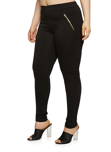 Plus Size Moto Ponte Knit Pants,BLACK,large