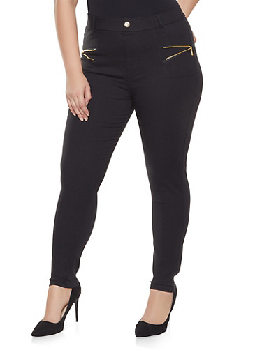 Plus Size Zipper Trim Jeans,BLACK,large