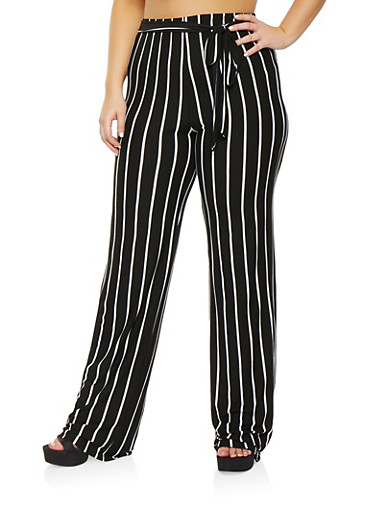 Plus Size Striped Tie Waist Pants,BLACK/WHITE,large