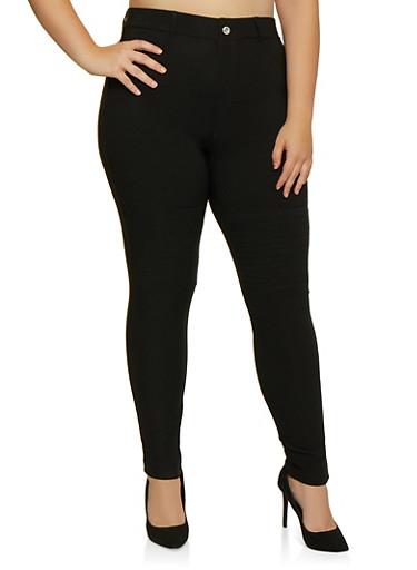 Plus Size Pull On Scuba Jeggings,BLACK,large
