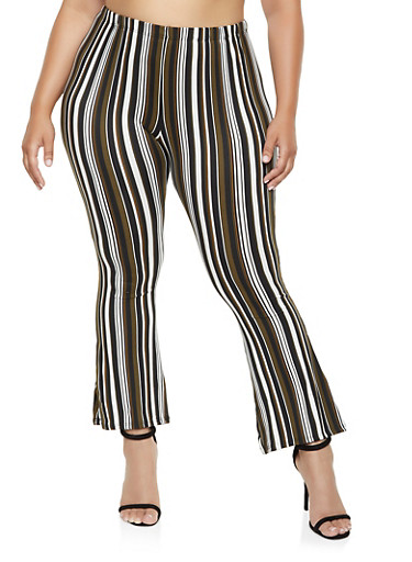Plus Size Printed Flared Pants,BLACK,large
