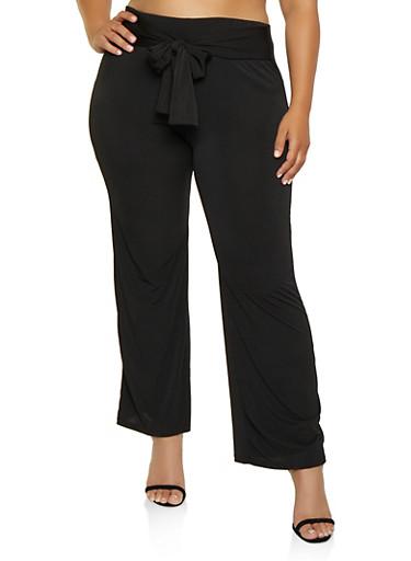Plus Size Tie Front Solid Palazzo Pants,BLACK,large