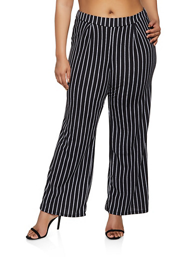 Plus Size Pleated Front Striped Palazzo Pants,BLACK/WHITE,large