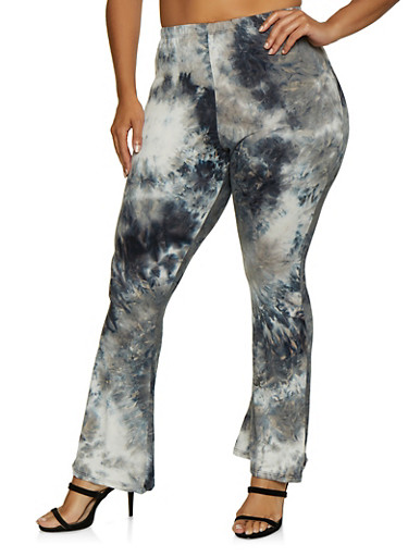 Plus Size Tie Dye Flared Pants,BLACK,large