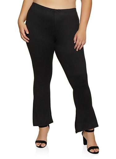 Plus Size Soft Knit Flared Pants   3961074010526,BLACK,large