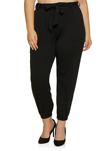 Plus Size Textured Knit Paper Bag Waist Joggers,BLACK,large