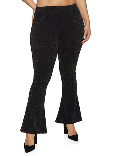 Plus Size Flared Lurex Pants,BLACK,large