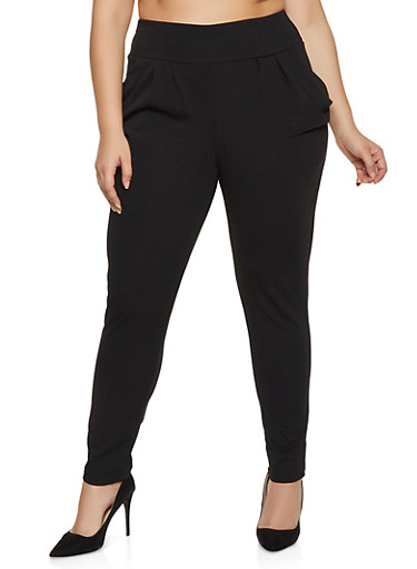 Plus Size Pull On Textured Knit Pants,BLACK,large