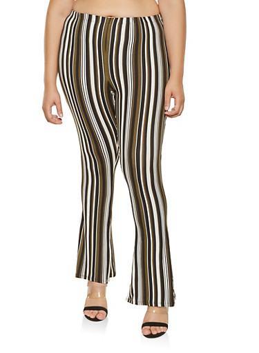 Plus Size Striped Soft Knit Flared Pants,HUNTER,large