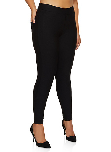 Plus Size Ponte Knit Pull On Dress Pants