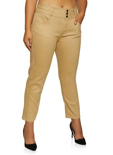 Plus Size Twill Skinny Khaki Pants,KHAKI,large