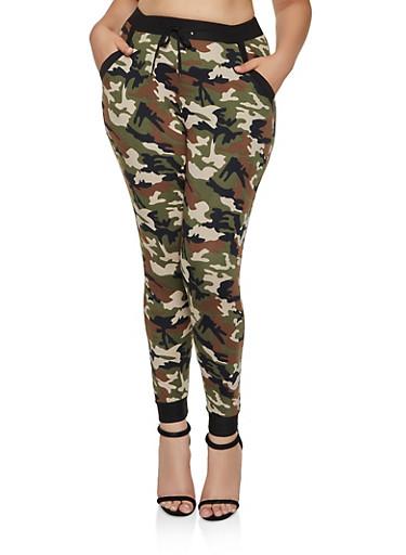Plus Size Camo Soft Knit Joggers,GREEN,large