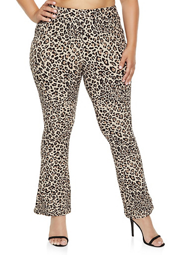 Plus Size Animal Print Flared Pants,BROWN,large