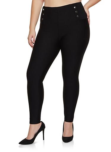 Plus Size Snap Detail Ponte Pants,BLACK,large