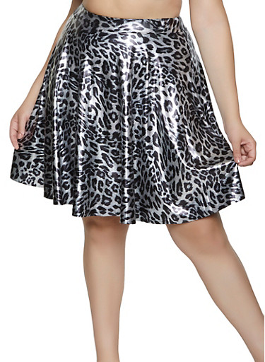 Plus Size Leopard Skater Skirt,SILVER,large
