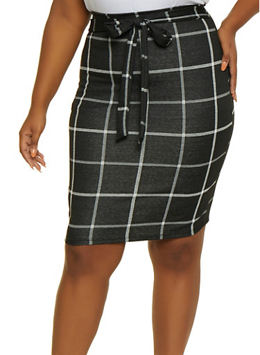 Plus Size Plaid Skirt,BLACK,large