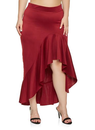 Plus Size Ruffled Asymmetrical Skirt,WINE,large