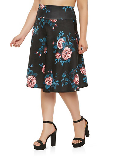 Plus Size Printed Skater Skirt,BLACK,large