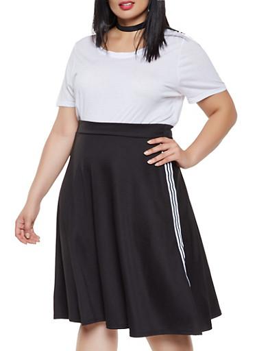 Plus Size Side Stripe Skater Skirt,BLACK,large