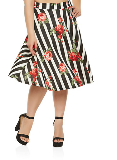 Plus Size Printed Skater Skirt,RED,large