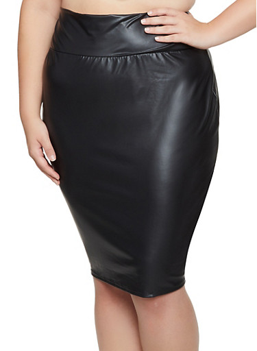 the best limited quantity top-rated professional Plus Size Faux Leather Midi Pencil Skirt