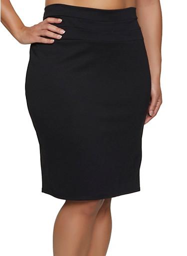 Plus Size Ponte Midi Pencil Skirt,BLACK,large