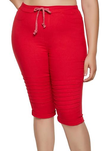 Plus Size Moto Capri Jeggings,RED,large
