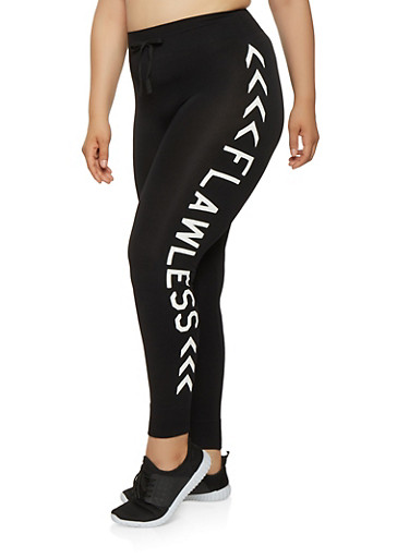 Plus Size Flawless Graphic Leggings,BLACK,large