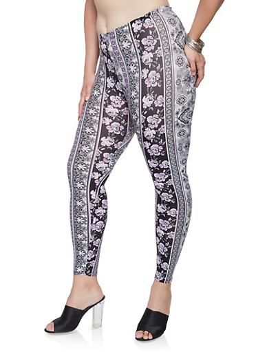 Plus Size Floral Soft Knit Leggings,BLACK,large